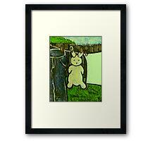 Rabbit on a washing line Framed Print