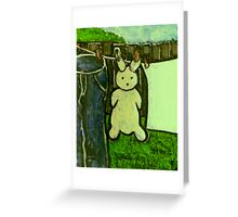 Rabbit on a washing line Greeting Card