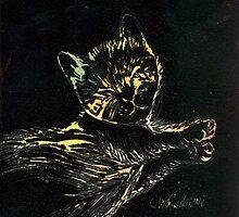 Recumbant Kitten in Black by CCallahan