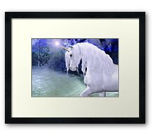 Star .. a white unicorn Framed Print