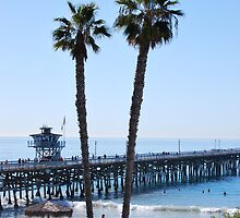 San Clemente Pier through Palm Trees by polylongboarder