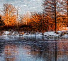 Cold Ice, Warm Light – Lake Ontario Impressions Sticker