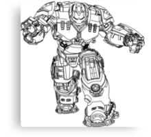 Tony Stark's Hulkbuster Suit Armour , Black outline no fill Canvas Print