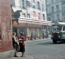 Vintage Paris Street Life 1956 Bus by Netsrotj