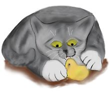 Grey Kitten and Easter Marshmallow Chick by NineLivesStudio