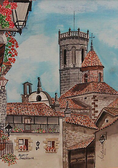 Watercolour ,   Rupit Barcelona . by Irene  Burdell