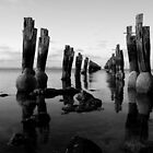 Jetty black and white by Lois Romer