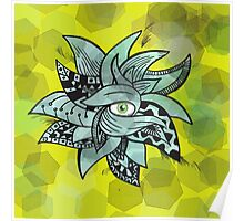 The all seeing eye pretty(awesome) doodle vibrant background Poster