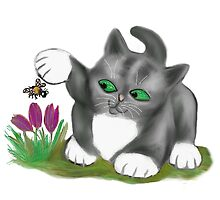 Bee Finds a Crocus and Kitten  by NineLivesStudio
