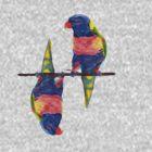 Rainbow Lorikeets by Melanie Deroon
