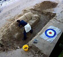 working against the tide - river thames artist, london by photogenic