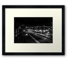 City night lights black and white Framed Print