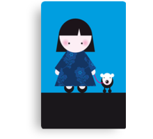 Chinese girl and her little dog Canvas Print