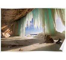 Cavern behind ice curtains on Grand Island on Lake Superior Poster