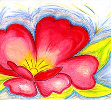 Red Flower in Pastels by Anne Gitto