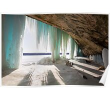 An Inside View of Grand Island Ice Curtains near Munising, Michigan Poster