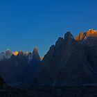 Sunrise on the Trango Towers and Paiyu Peak by fineartphotos