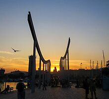 Barcelona- Sunset over the bridge by CJVisions