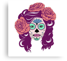 Colorful Sugar Skull Woman Canvas Print