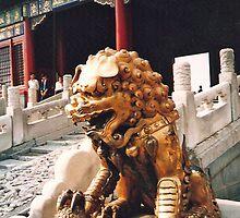Beijing, The Forbidden City, a golden Lion by presbi