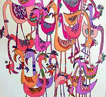 fabulous flock of flamingos by redblossom
