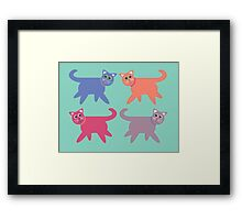 4 Colorful Cats Framed Print
