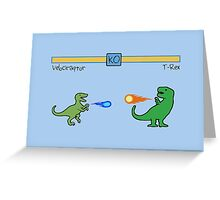 Dinosaur Fighter Game - Velociraptor vs T-Rex Greeting Card