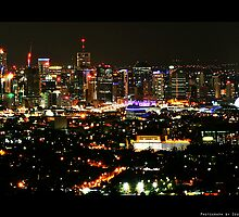 Night View from Mt Coot-tha, Brisbane, QLD, Australia by Ryu SeungHyun