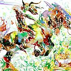 DEMON RIDING A HORSE REARING UP IN FRONT OF A TWO  by lautir