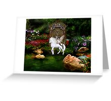 Unicorn White Beauty And Heart Angel Greeting Card