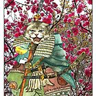 A Halfing Samurai Cat with a Spear and 2 Swords by felissimha