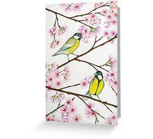 Tits on sakura tree Greeting Card