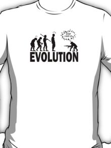 "New Evolution Stop Walking ""I Give Up"" Funny  T-Shirt"