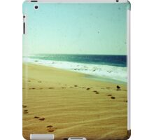 Footprints in the sand, summer beach photo print, green ocean waves dreamy, Mexico travel photography, Jesus religious biblical wall art iPad Case/Skin