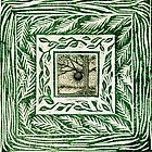 Green linocut Hand Pulled Inchie Border Print With Oak Tree Inchie Drawing by Catherine  Howell