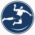Handball Player Jumping Throwing Ball Icon by patrimonio