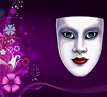 Blue Eyed Mask with Floral Background Print by Gotcha29