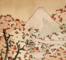 'Mount Fuji Behind Cherry Tree and Flowers' by Katsushika Hokusai (Reproduction) Sticker