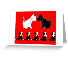 Origami Cat Family (Red) Greeting Card