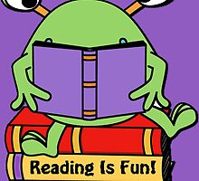 Reading Is Fun Cute Book Loving Alien by HavenDesign