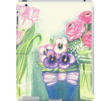 SPRINGTIME FLOWERS - TULIPS - PANSIES - BUTTER CUPS - Pastel -and Colour Pencil-Desing iPad Case/Skin