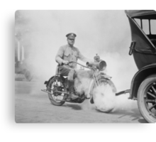 Motorcycle Policeman on Duty, 1923 Canvas Print