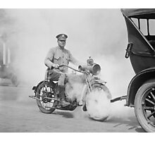Motorcycle Policeman on Duty, 1923 Photographic Print