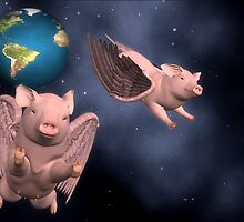 pigs in space!! by Cheryl Dunning