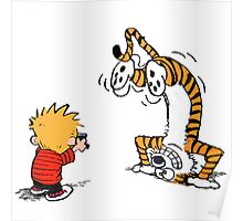 Calvin and Hobbes take a picture Poster