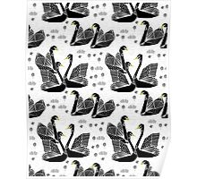 Origami Swans - Black on White by Andrea Lauren Poster