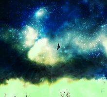 Bird Flying through Star filled Sky. by becky2506