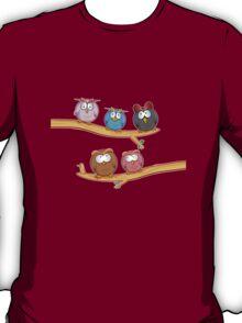 funny owl group cartoon on tree T-Shirt