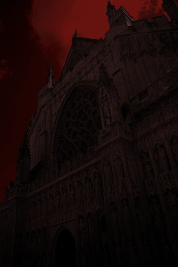Exeter Cathedral in red by RCrabb