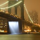 Brooklyn bridge waterfalls at night by 64iso